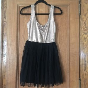 Gold Sequin Dress with Tulle Skirt